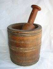 Primitive Large Wood Mortar+Pestle-Aged Apothecary Rx Medical Mixer Drugstore