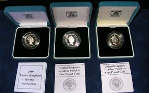 ENGLAND ELIZABETH II  1986, 1987, & 1989 PROOF SILVER 1 POUND COINS, WITH BOXES