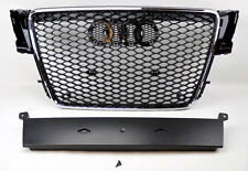 Audi A5 S5 07-11 RS Style Euro Honeycomb Hex Mesh Chrome & Gloss Black Grill