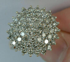 14k Yellow Gold Over 3Ct Round Cut VVS1 Diamond Engagement Wedding Cluster Ring