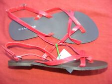 BARKINS Genoa Strappy Instep RED SANDALS Size 9 NEW 2nd -defects