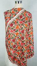 Pashmina Kashmiri Shawl,  Floral Embroidery, White Shawl, Stole, Scarf