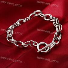 RUBYCA Silver Rolo Link Chain Toggle Charm Bracelet DIY Jewelry Making Finding