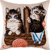 """Needlepoint/Tapestry Pillow Cover DIY Kit """"Kittens in a Basket"""""""