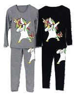 Girls Dabbing Unicorn Outfit Kids Leggings And T-Shirt Top Tracksuit Age 2-13