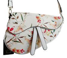 Women's Faux Leather Handbag Shoulder Tote Saddle Bag Messenger WHITE FLORAL