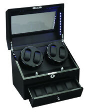 Diplomat 4+4 Watch Winder LED Lit w/ Storage Ebony Black Wood and Leather 34-512