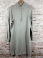 Tommy Bahama Womens Beige Mock Zip Neck Sweater Zip Dress Size Large