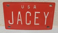 1960'S VINTAGE MINI USA JACEY LICENSE PLATE NAME TAG SIGN BICYCLE VANITY PL8