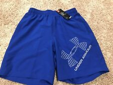 Men's Under Armour Woven Logo Heat Gear Shorts Blue Size Small MSRP $30