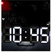 Digital Big Large 3D LED Wall Desk Clock Alarm Snooze Temperature Date 12/24Hour