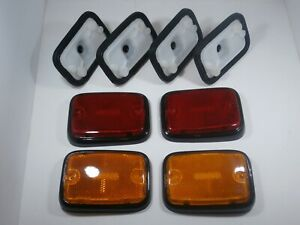SIDE MARKER LENS / REFLECTORS BLACK BASE W/ HOLDERS  VW TYPE 2 BUS 1970-1979