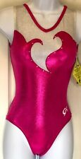 GK BLOOMING HEART ADULT X-SMALL PINK WHITE FOIL SWAR GYMNASTS TANK LEOTARD AXS