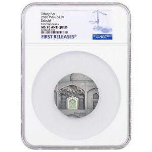 TIFFANY ART SAFAVID 2 oz Ultra High Relief silver coin antiqued MS70 Palau 2020