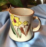 Vintage Otagiri Style Yellow Brown Glaze Daisy SunFlower Floral Coffee Cup Mug