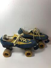 Vintage Disco Roller Derby Skates Size 10 Suede Blue &  Yellow