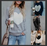 US Women Winter Heart Knitted Sweater Jumper Cardigan Tops Pullover Coat Outwear