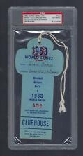 VINTAGE 1963 WORLD SERIES LA DODGERS @ NY YANKEES PRESS PASS TICKET STUB PSA