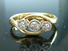 Stunning 18ct gold 3 Stone 0.20ct Old Cut Diamonds Art Deco