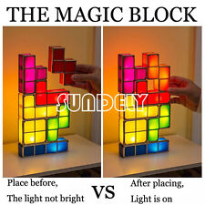 DIY Tetris Stackable LED Desk Night Light Lamp Children Kids Child Game Toy Gift