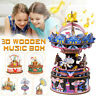 DIY 3D Carrousel Boîte à Musique en Bois Puzzle Modèle Merry-Go-Round Cadeau FR