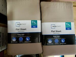 (Lot of 4)Mainstays 300 Thread Count  flat Sheet brown twin