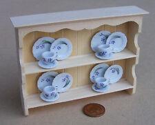 1:12 Natural Finish Shelf Unit & 16 Piece Tea Set Dolls House Miniature TS4