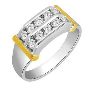 Men's Wedding Ring Round Cut Diamond SI1 G 0.80 Ct Channel Set 14K Two-Tone Gold