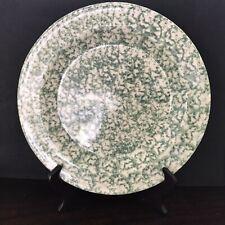 """Roseville Spongeware Workshops of Gerald E. Henn Signed Green 10"""" Dinner Plate"""