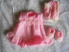 "Doll Clothes Handcrafted Vintage Style Pink 3 pc set Dress fit 11""-13"""