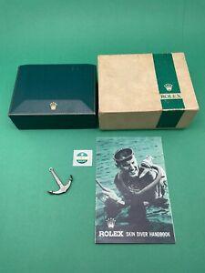 VTG 1960s 70s Rolex Green Stripe Box - Skin Diver Hand Book - 200m/66ft Anchor