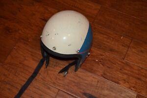 vintage white/blue motorcycle helmet