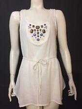 edme & esyllte Anthropologie Womens 4 Semi Sheer White Beaded Tunic Tank Top