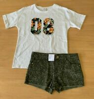Girls size 10 Cotton White 08 print  tee &  khaki camo denim shorts Target NEW