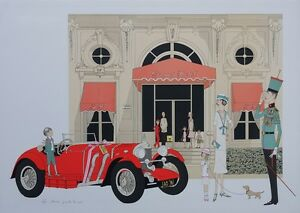 Denis-Paul NOYER : Mercedes 710 Cabourg Groß Hotel - Lithografie Signiert, 115EX