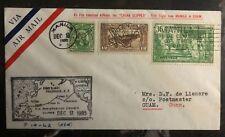 1935 Manila Philippines First Flight Airmail Cover FFC To Guam Island Cachet B