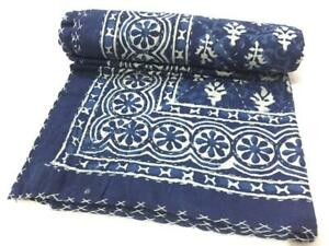 Indian Kantha Twin Quilt Handmade Indigo Reversible Bedspread Blanket Throw`