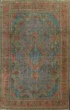 Antique Overdyed Floral Tebriz Evenly Low Pile Wool Hand-knotted Area Rug 8'x12'