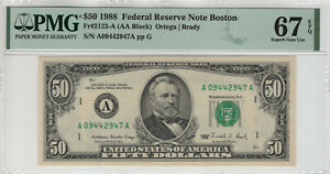 1988 $50 FEDERAL RESERVE NOTE BOSTON FR.2123-A PMG SUPERB GEM 67 EPQ TOP POP