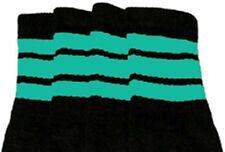 "22"" KNEE HIGH BLACK tube socks with AQUA stripes style 1 (22-152)"