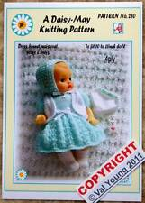 Dolls knitting pattern by Daisy-May for a 10-11 inch doll No. *280*