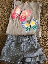 Gymboree 3T Girls Butterfly Shorts Outfit
