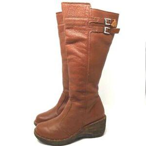 Lassen Womens Kansas Boots Brown Knee High Full Zip Double Buckle Wedge Heels 7
