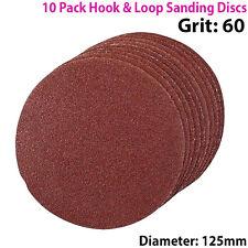 Qty 10 - 125mm 5 Pulgadas los discos de lijar 60 Grit-Lijadora De Órbita-Hook & Loop