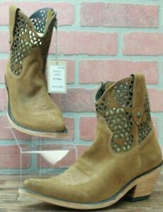 Liberty Black Gamuza Ambra LB-712956-A Brown Perforated Leather Booties Size 7 M