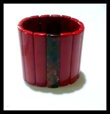 "3"" Wide Lucite Stretch Bracelet -Dark Red And Black - Fits Med. to Large Wrist."