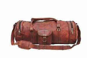 "22""Men's Large Leather Travel Luggage Gym Duffle Bag Large Goat Brown bag"