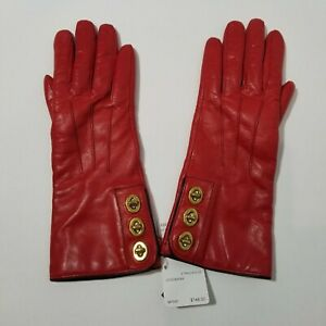 Coach Red Gloves Triple 3 Turn lock Sz 6.5 NWT $168 B4