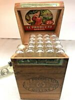 ⭐RARE Vintage El Producto Queens Cigar Wood Box With 22 Glass Tubes Class G⭐