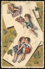 cartolina d'epoca-post card-illustratore BONORA-BAMBINI,CHILDREN,EDERA